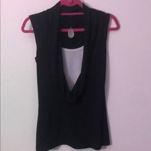 Black blouse with attached cami and necklace